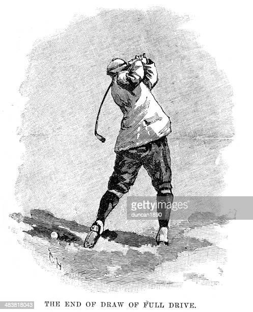 victorian golf - full drive - teeing off stock illustrations, clip art, cartoons, & icons
