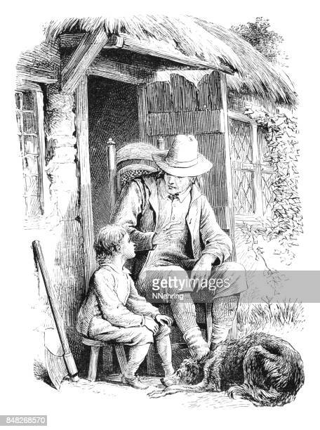 Victorian grandfather telling stories to grandson