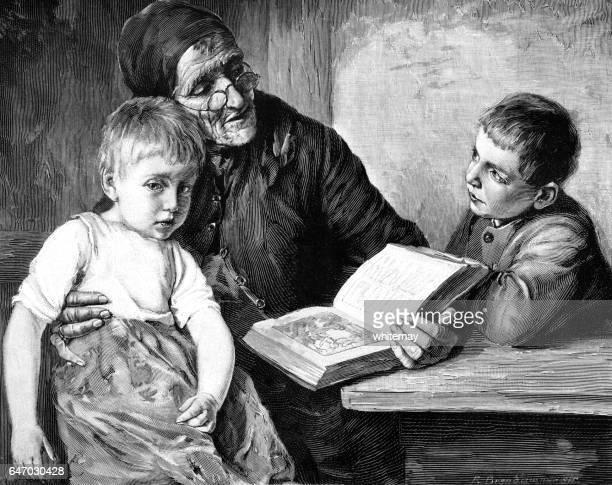 ilustraciones, imágenes clip art, dibujos animados e iconos de stock de lectura de la biblia a sus nietos de la abuela victoriana - personas leyendo la biblia