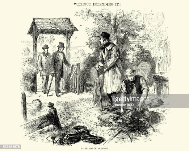 ビクトリア朝の墓掘りの墓地 1872 で証拠を探して - 墓堀人点のイラスト素材/クリップアート素材/マンガ素材/アイコン素材