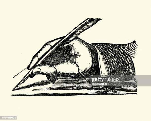ilustraciones, imágenes clip art, dibujos animados e iconos de stock de victoriana mano escribiendo con una pluma de ave - plumadeescribir