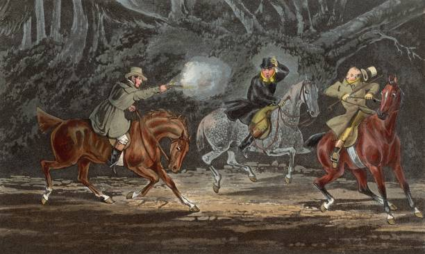 A Victorian highwayman takes two travellers on horseback...