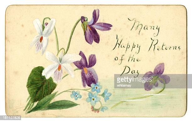 ビクトリア様式の手作りのバースデーカード、1890 - 誕生日カード点のイラスト素材/クリップアート素材/マンガ素材/アイコン素材