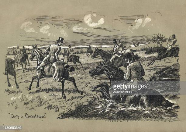 stockillustraties, clipart, cartoons en iconen met victoriaanse horse riders going cross country, 19e eeuw - military