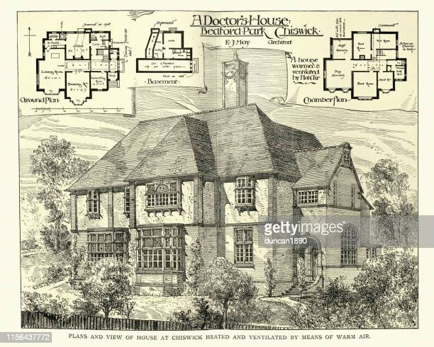 victorian house architecture, a doctor's house, chiswick, 1899 - 1890 1899 stock illustrations