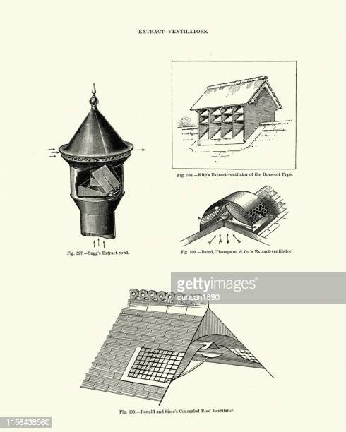 victorian house architecture, extract ventilators, 19th century - hood clothing stock illustrations
