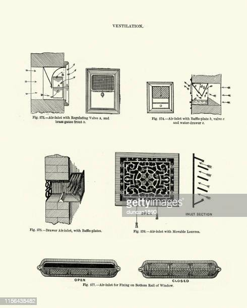 victorian house architecture, ventilation air-inlets, 19th century - air duct stock illustrations
