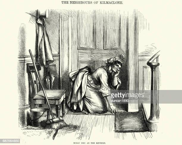 Victorian housekeeper eavesdropping through the keyhole