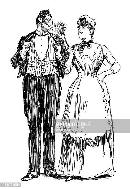 Victorian housemaid flirting with the footman