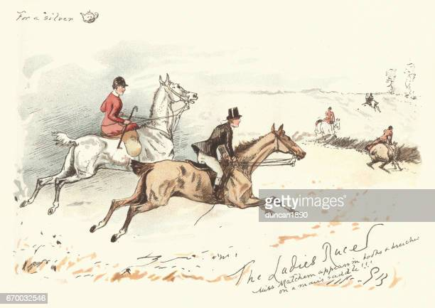 Victorian hunters rdiing acoss a field, 19th Century