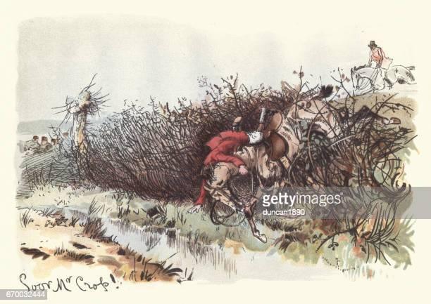 Victorian huntsman falling of his horse