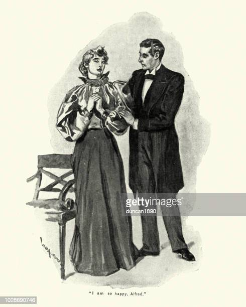 victorian husband and wife holding hands, 1890s, 19th century - arm in arm stock illustrations, clip art, cartoons, & icons