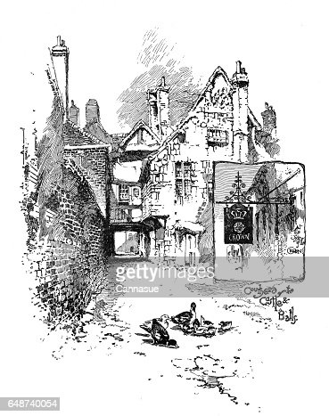 Victorian Illustration Courtyard Of The Castle And Ball