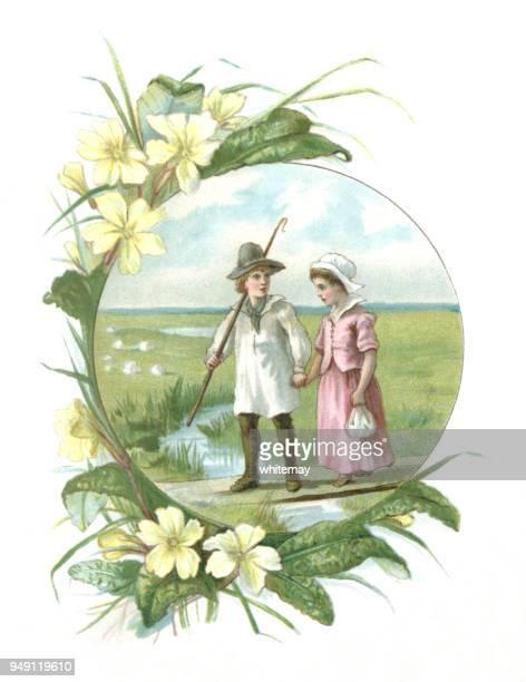 Ilustración victoriana de un pastor y su novia en una frontera de primaveras