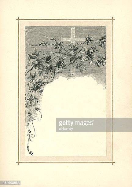 victorian illustration of passionflowers and cross (1883) - dirty easter stock illustrations