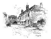 Victorian illustration The Black Bear at Hungerford Berkshire; historic coaching inns; Artist Herbert Railton.
