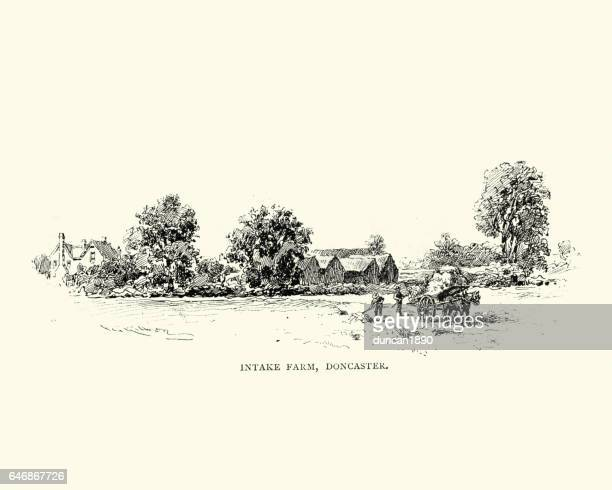 victorian intake farm, doncaster, 19th century - england stock illustrations