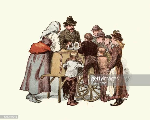 ilustraciones, imágenes clip art, dibujos animados e iconos de stock de vendedor de helados victoriano italiano, este de londres, siglo 19 - puesto de mercado