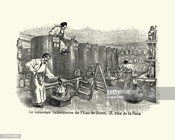 victorian laboratory making eau de botot mouth wash, 19th century - mouthwash stock illustrations