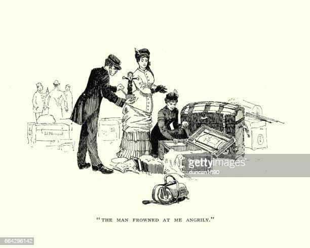illustrations, cliparts, dessins animés et icônes de victorian ladies and their luggage - diable à ressort