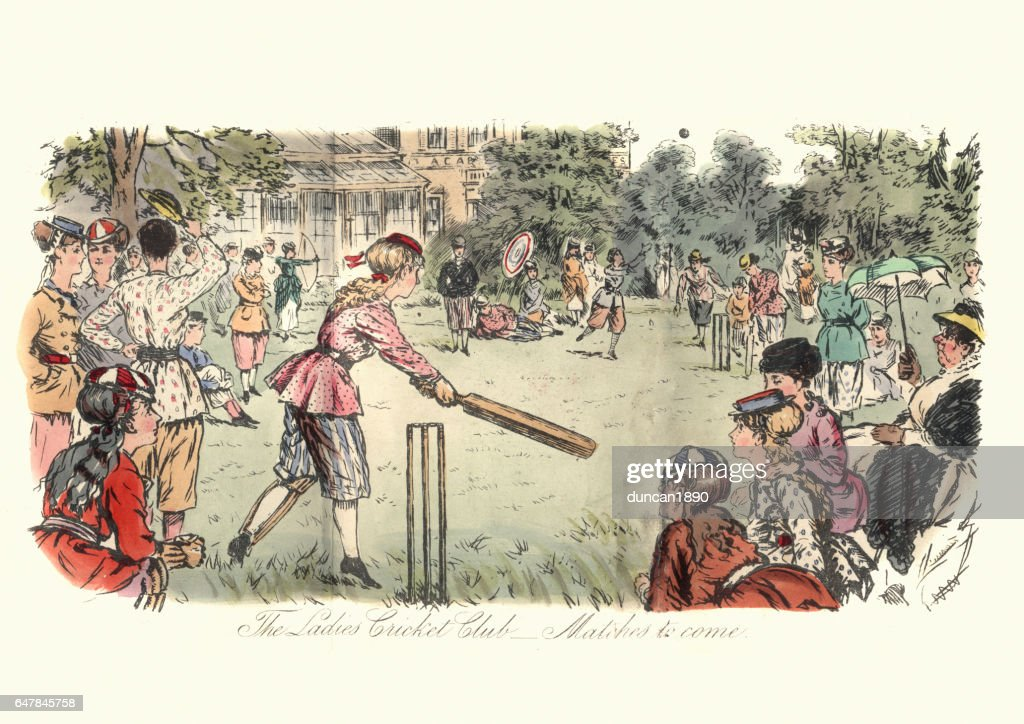 Victorian ladies cricket match, 1869 : stock illustration