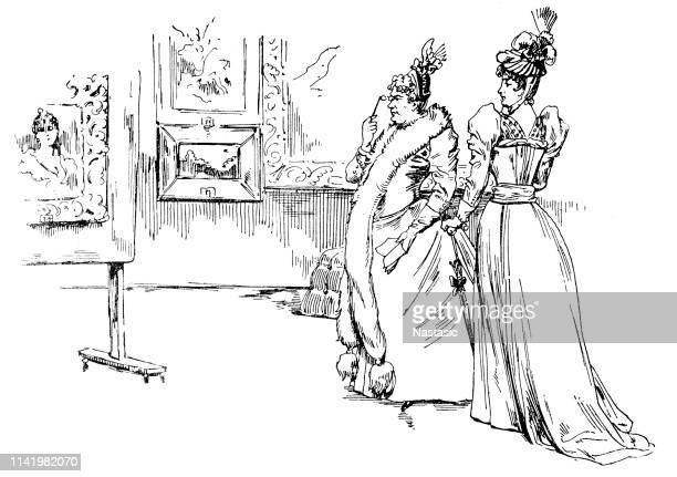 ビクトリア朝の女性は、絵のギャラリーで絵画を議論