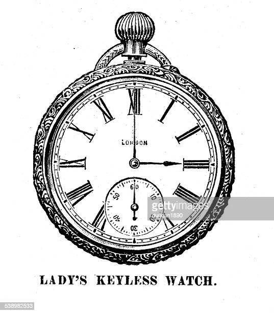 ilustraciones, imágenes clip art, dibujos animados e iconos de stock de victorian estimados reloj de bolsillo - reloj de bolsillo