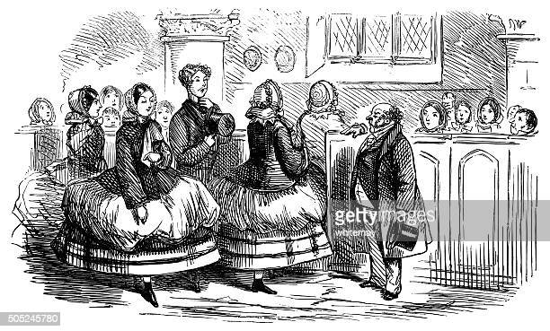 victorian ladies with huge crinolines in church - sunday best stock illustrations, clip art, cartoons, & icons