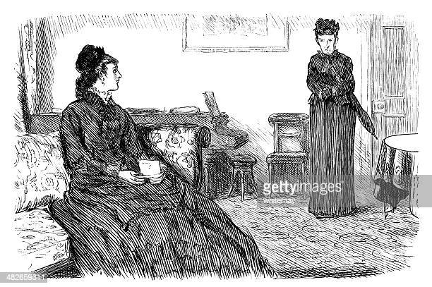 Victorian lady interviewing a prospective parlour-maid