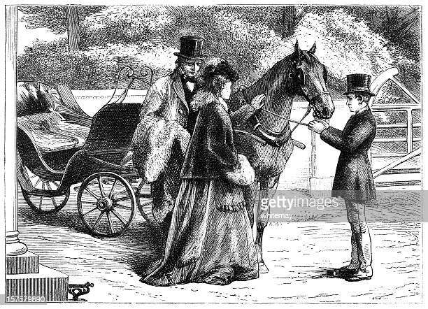 Victorian lady stroking a horse (1875 illustration)