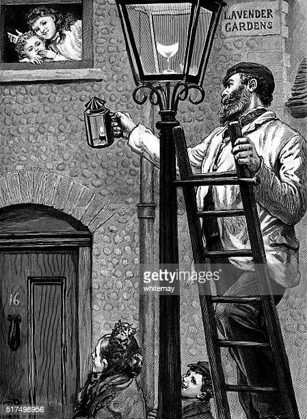 ビクトリア ランプ ライター 照明、street のランプ - ガス燈点のイラスト素材/クリップアート素材/マンガ素材/アイコン素材