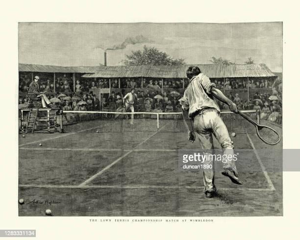 ビクトリア朝のローンテニスの試合、1888ウィンブルドン選手権 - テニスラケット点のイラスト素材/クリップアート素材/マンガ素材/アイコン素材