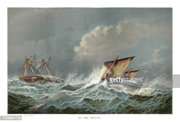 victorian lifeboat going to the rescue of a stricken sailing ship in rough seas - ship wreck stock illustrations
