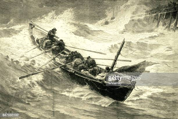 Victorian lifeboat putting out to sea in a storm