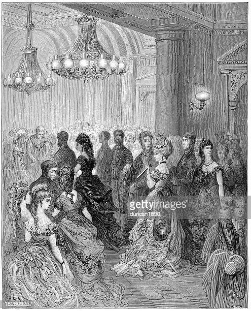 stockillustraties, clipart, cartoons en iconen met victorian london - a ball at the mansion house - gewalt