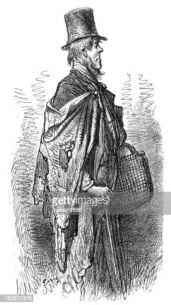 victorian london - a greenwich boat traveller - vagabond stock illustrations, clip art, cartoons, & icons