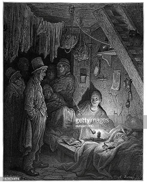 victorian london - an opium den - opium poppy stock illustrations