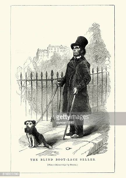 victorian london - blind boot lace seller - blindness stock illustrations, clip art, cartoons, & icons