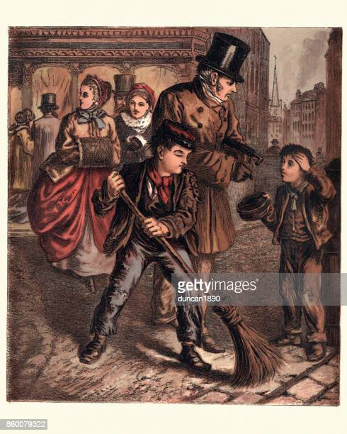 victorian london boys begging and sweeping street, 1870 - street sweeper stock illustrations