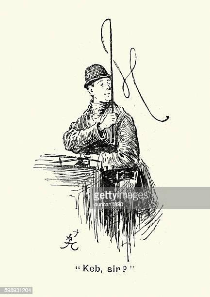 ilustraciones, imágenes clip art, dibujos animados e iconos de stock de victorian london cab driver, 1894 - taxista