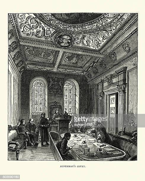 victorian london - court of aldermen - politics and government stock illustrations, clip art, cartoons, & icons