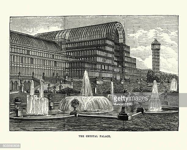 victorian london - crystal palace - great exhibition stock illustrations, clip art, cartoons, & icons