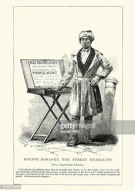 ilustraciones, imágenes clip art, dibujos animados e iconos de stock de victoriana londres médico bokanky, la calle herbolario - puesto de mercado