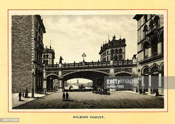 victorian london - holborn viaduct - holborn stock illustrations