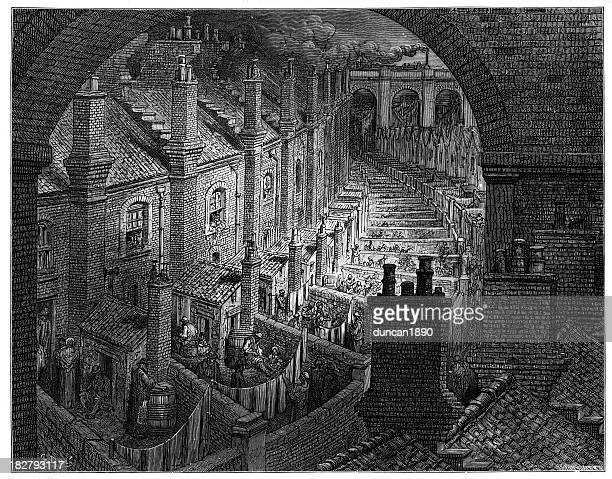 victorian london housing - etching stock illustrations