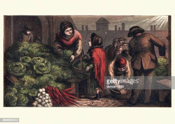 illustrations, cliparts, dessins animés et icônes de londres victorien, sur le marché aux légumes, xixe siècle - marchand