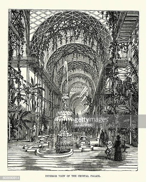 victorian london - interior view of crystal palace - great exhibition stock illustrations, clip art, cartoons, & icons