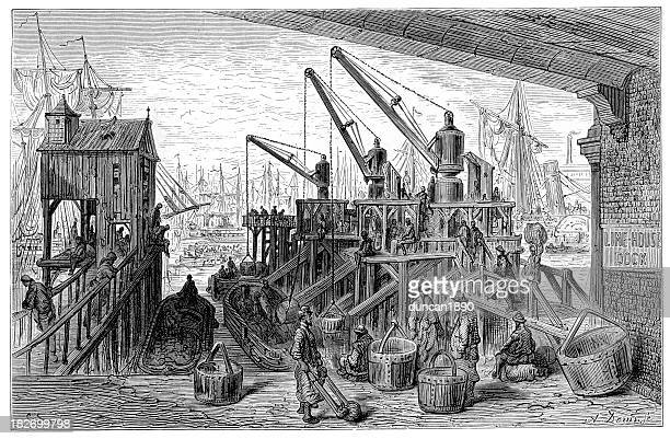 victorian london - limehouse dock - london docklands stock illustrations