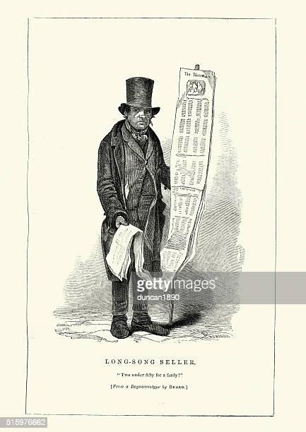 ilustraciones, imágenes clip art, dibujos animados e iconos de stock de victoriana londres-largo canción vendedor - puesto de mercado