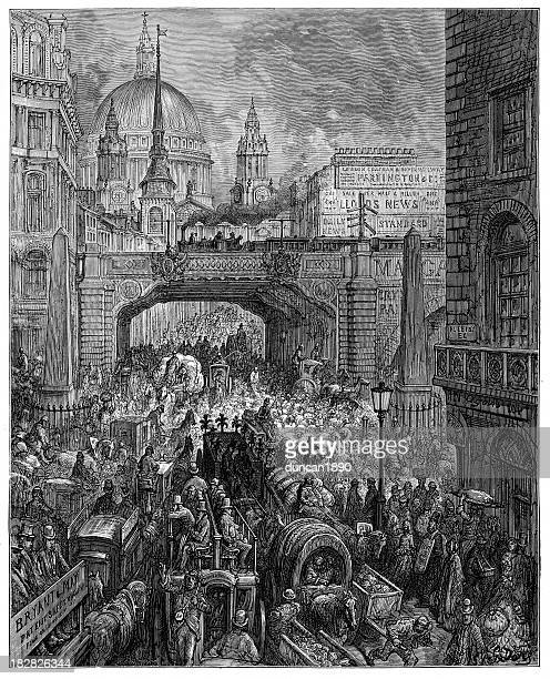 victorian london - ludgate hill - st. paul's cathedral london stock illustrations